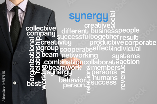 Business man presenting wordcloud related to synergy - Buy