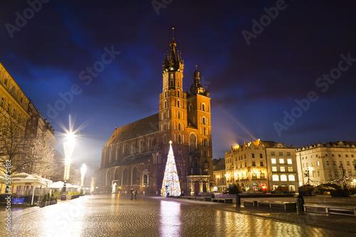 Fototapeta The Main Market Square in Krakowat night, Poland obraz