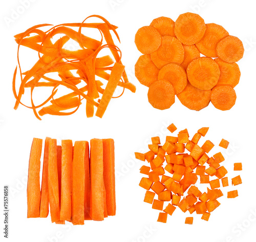 collection of slices of carrot isolated on white background Poster Mural XXL
