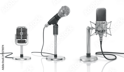 Set of professional microphones on the white background. Fotobehang