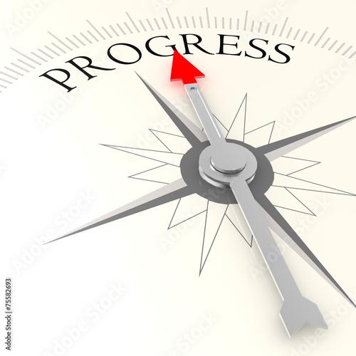 Fotografía  Progress word on compass