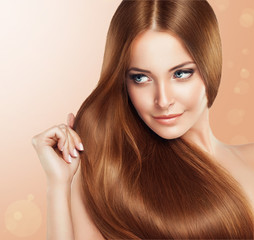 Fototapeta Do fryzjera Beautiful girl with brown hair .Long straight hair Shine