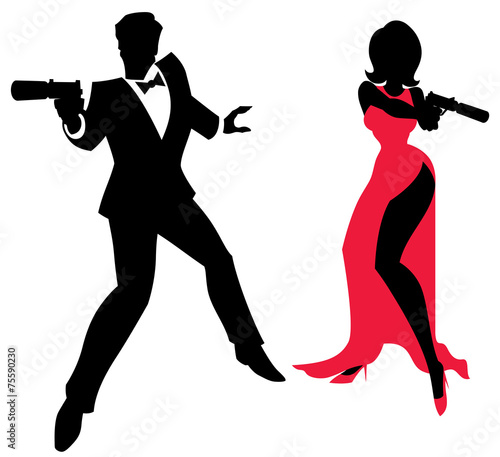 Spy Couple Wallpaper Mural