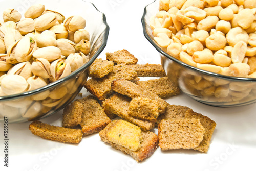 Foto op Canvas Buffet, Bar two plates with nuts and crackers