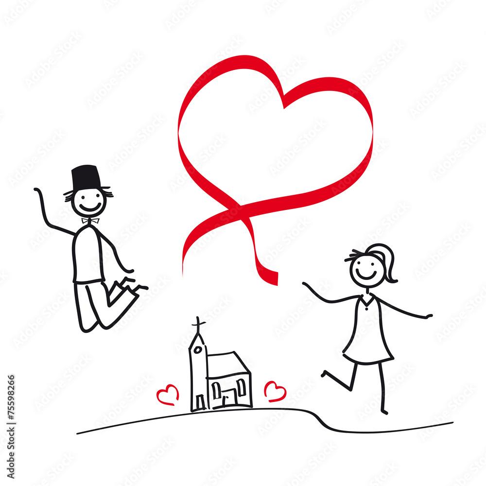 Foto Auf Acrylglas Brautpaar Paar Mit Herz Luftsprung Vor Freude