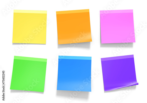 Fotografie, Obraz  Office sticky notes in yellow, orange, pink, green, blue, purple