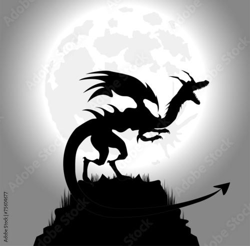 drago in una notte di luna piena Poster