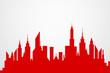Modern City Skyscrapers Skyline Red Silhouette