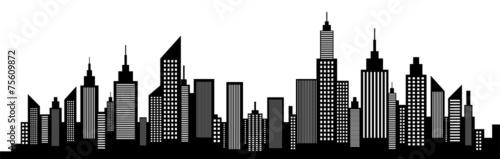Photo  Modern City Skyline Silhouette On White
