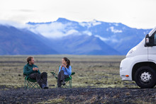 Travel Couple By Mobile Motor Home RV Campervan