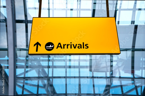 Photo Check in, Airport Departure & Arrival information sign