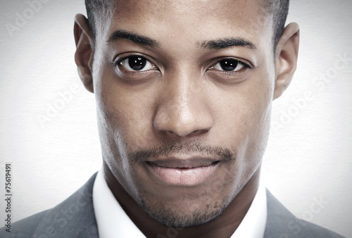 fototapeta na lodówkę African-American twarz czarny człowiek.
