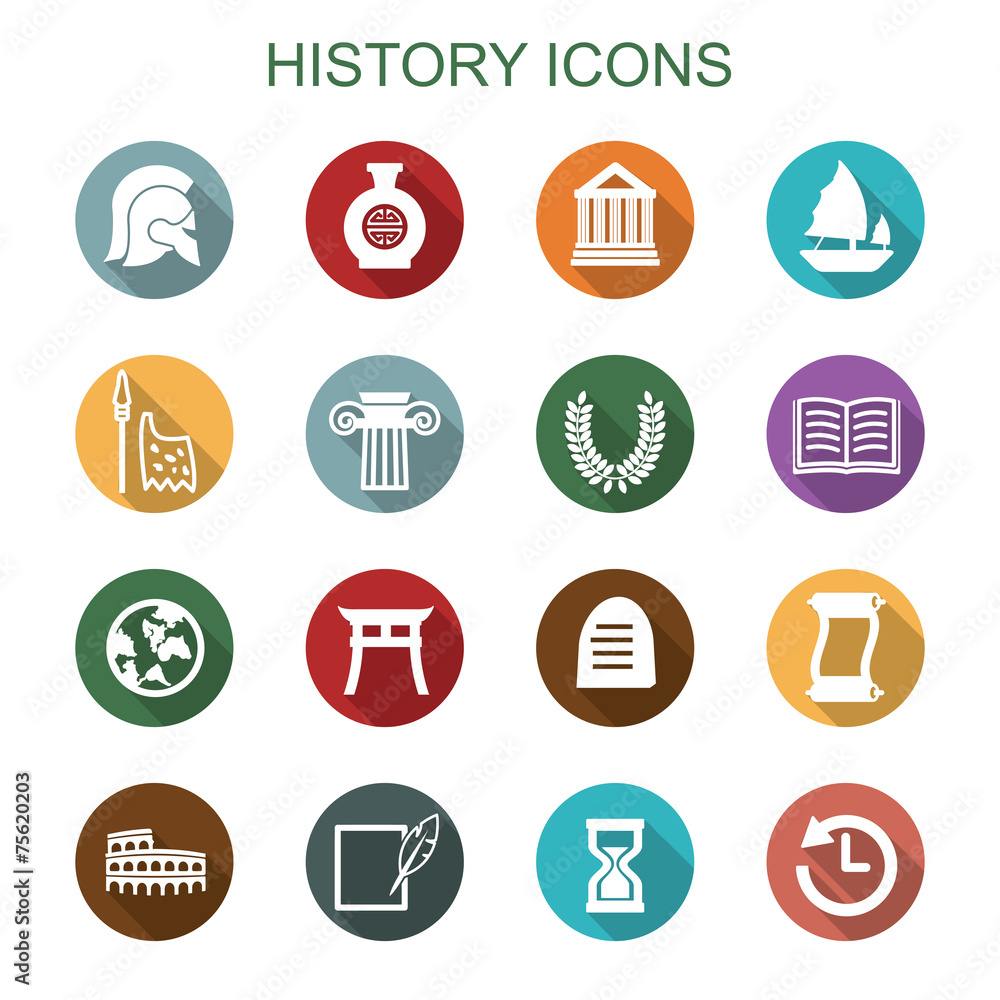 Photo  history long shadow icons