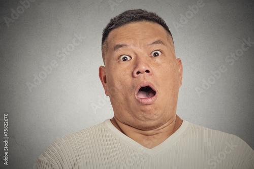 Fotografia, Obraz  headshot shocked man isolated on grey wall background