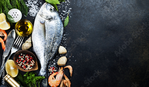 Photo sur Aluminium Poisson Delicious fresh fish