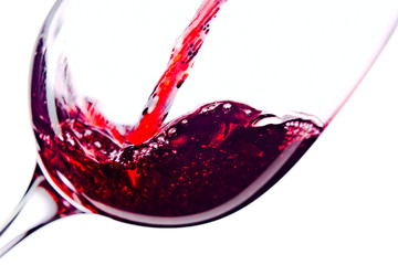 Fototapeta Red wine on white background