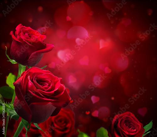 Plakat tło valentine z serca i czerwone róże