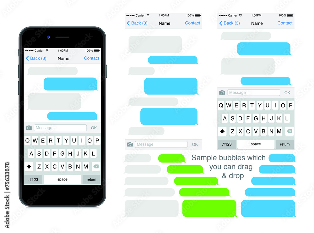 Fototapety, obrazy: SmartPhone chatting sms template bubbles. Place your own text