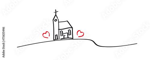 Grafik - Kirche mit zwei Herzen, kleine Dorfkirche