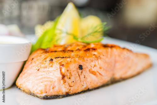 Fototapeta Salmon fish fillet grilled steak obraz