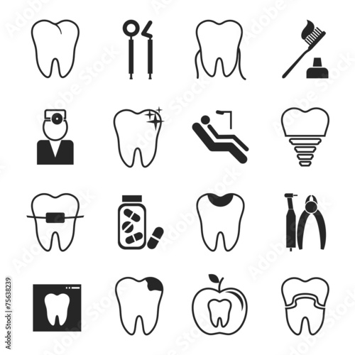 Dental icons set Canvas-taulu