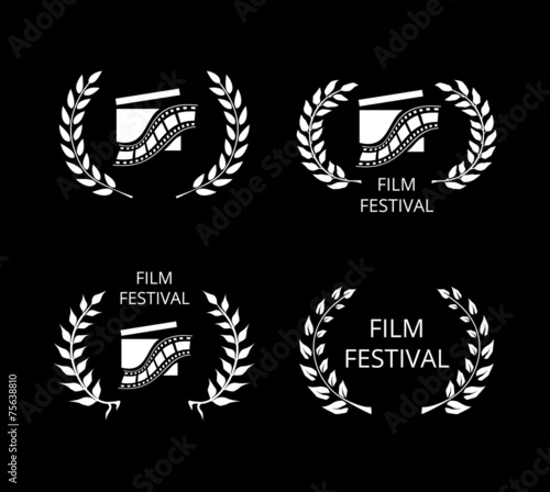 Four Film Festival Symbols and Logos on Black Wallpaper Mural
