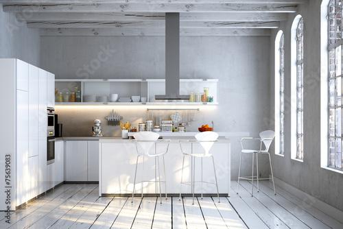 loft interieur mit schlichtem design bilder, schlichte weiße küche in altbau loft apartment - buy this stock, Design ideen