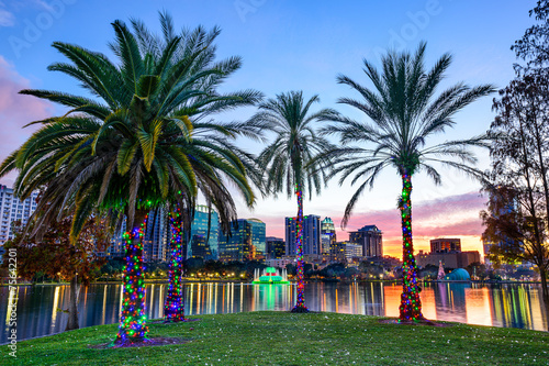 Poster Palmier Orlando, Florida, USA Cityscape and Palm Trees at Eola Lake