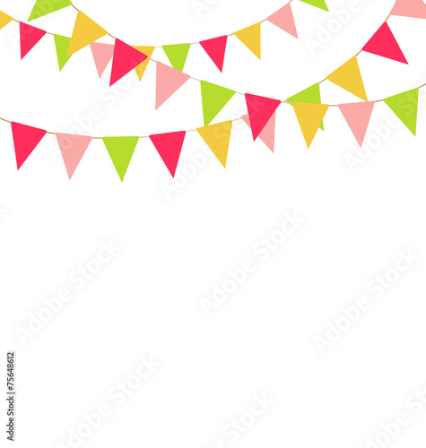 Fotografia  Multicolored bright buntings garlands isolated on white backgrou