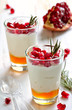 Parfait with honey and pomegranate seeds