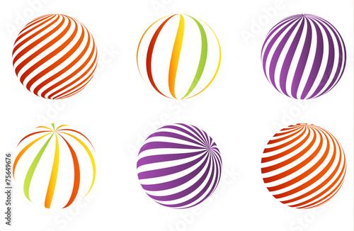 Fototapeten Künstlich Collection of 6 different 3D balls