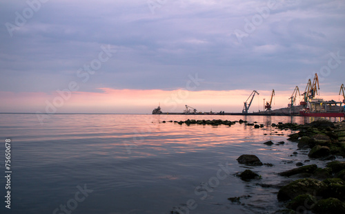 City on the water Port in Feodosia, Russia