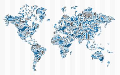 fototapeta  mapa świata giełda finansowa