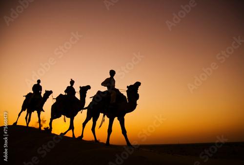 Indigenous Indian Men Riding Desert Camel Concept Canvas Print