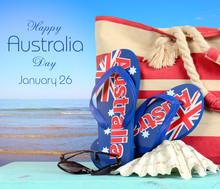 Happy Australia Day Australian Beach Scene.
