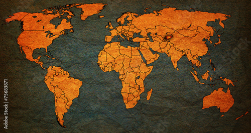 Foto op Canvas Wereldkaart kirgistan territory on world map