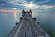 The long bridge over the sea with a beautiful sunrise, Thailand
