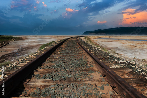 Staande foto India Railroad track in the desert