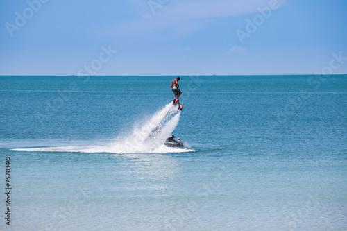 Garden Poster Water Motor sports man exibition on flyboard
