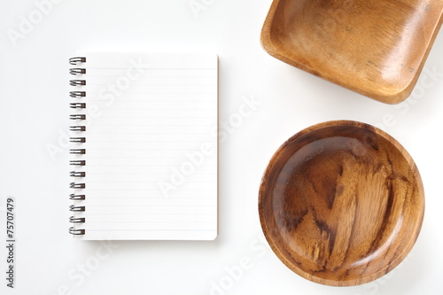 Fototapeta Blank open notebook and kitchen utensils for recipes obraz