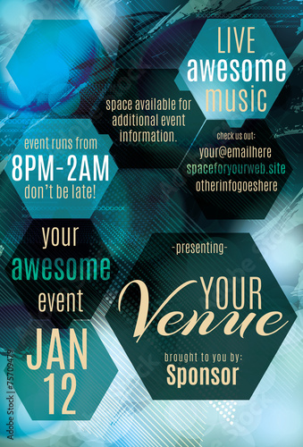 Fotografie, Obraz  Blue Ice polygon themed flyer for a night club event