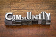 canvas print picture - community in metal type