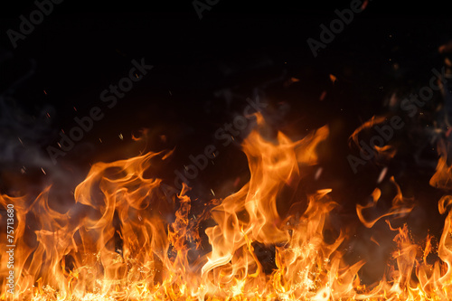 Door stickers Fire / Flame Beautiful stylish fire flames