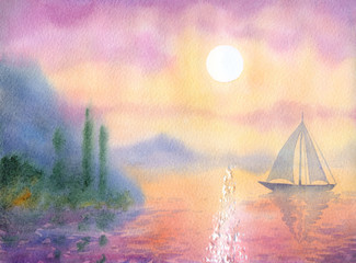 FototapetaWatercolor landscape. Sailboat at Sea quiet evening