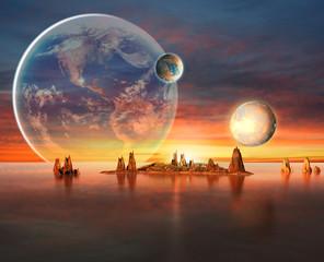 fototapeta 3D obca planeta