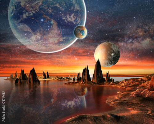alien-planet-with-earth-moon-and-mountains