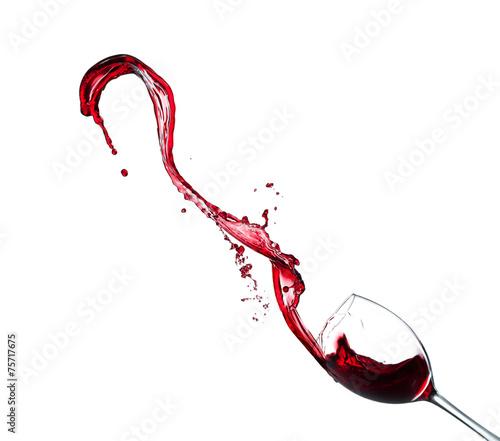 Red wine splash on white background Fototapete