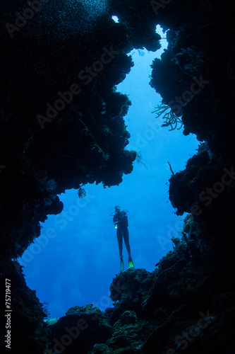 Scuba Diver at Mouth of Cave
