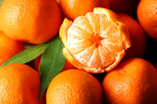 Fresh Ripe Mandarins Background