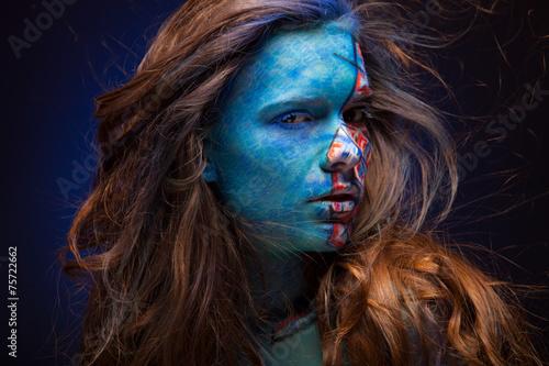 Fototapety, obrazy: sensual girl with colorful bodyart